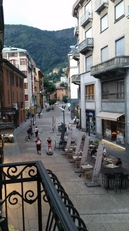 Pedestrian walkway view from my apartment balcony. Como, Italy.