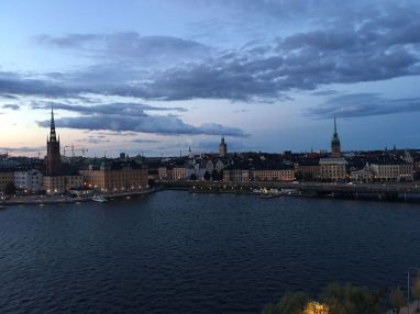 Evening views of Gamla Stan from Monteliusvagen vista