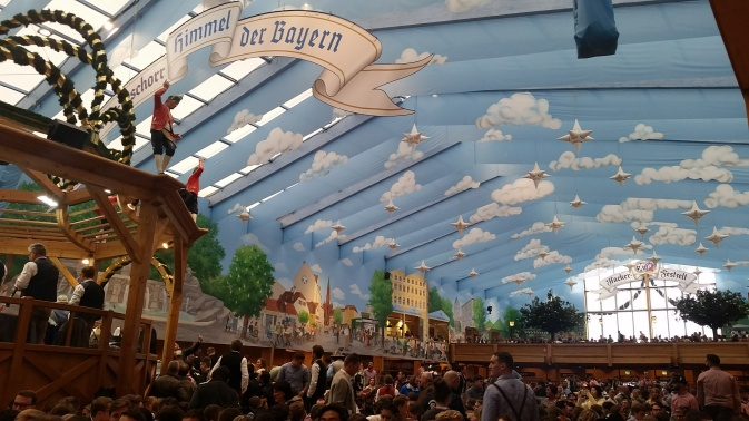 "The Hacker-Pschorr tent, decked out as ""The Heaven of Bavaria"""