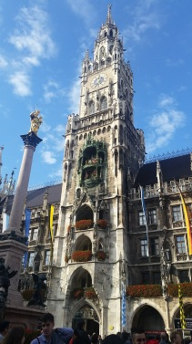Marienplatz, a central hub of Munich. Can you see the Cuckoo Clock?