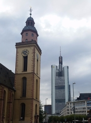 The old and the new: The 259m Commerzbank Bank Tower, Frankfurt's tallest building