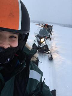 Snowmobile selfie chain!