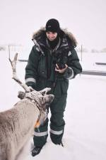 Co-Leader Colin befriending our reindeer