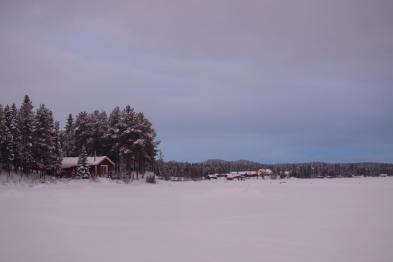One of our cabins as seen from across the frozen lake