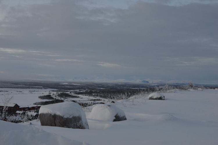 Somewhere on that horizon is Sweden's largest mountain, Kebnekaise (2,100m)