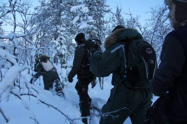 The trailblazers hoofed it through 2 feet of snow to pack down a trail for the end of our chain