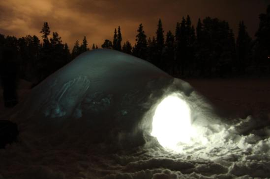 An igloo. On a frozen lake. In the middle of nowhere. Perfect.